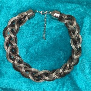 Chunky silver tone braided necklace